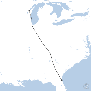 Map of flight plan from KCRG to KGRB