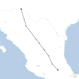 Map of flight plan from MMMX to MMCS