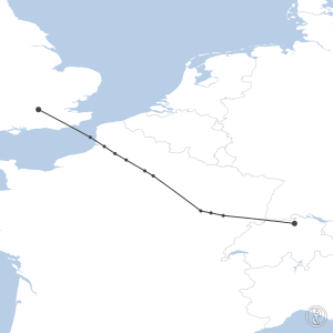 Map of flight plan from LSZH to EGLL