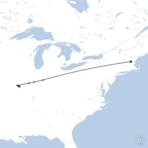 Map of flight plan from KMHT to KSTL