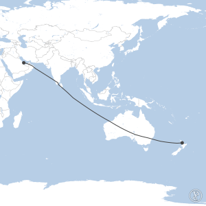 Map of flight plan from OTBD to NZAA