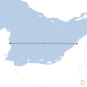 Map of flight plan from OTBD to OMDB