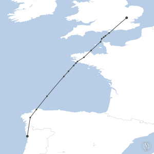 Map of flight plan from EGSS to LPPR