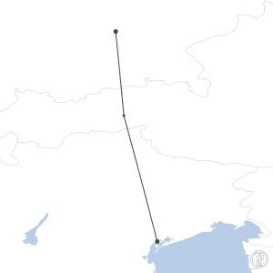 Map of flight plan from LIPZ to EDDM