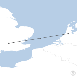 Map of flight plan from EGLL to EHAM