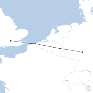 Map of flight plan from EGLL to EDDF