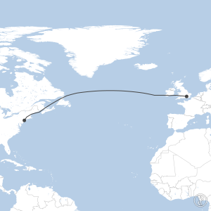 Map of flight plan from EGLL to KJFK