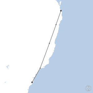 Map of flight plan from YSSY to YBCG