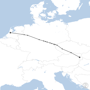 Map of flight plan from LOWW to EHAM