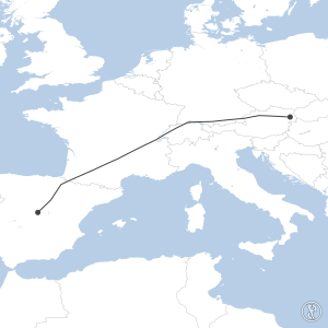 Map of flight plan from LOWW to LEMD
