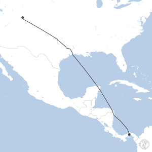 Map of flight plan from MPTO to KASE