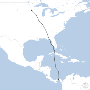 Map of flight plan from MPTO to KMSP