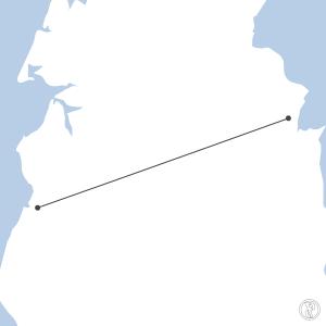 Map of flight plan from YLHR to YAUR