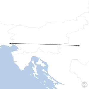 Map of flight plan from LDZA to LIPQ