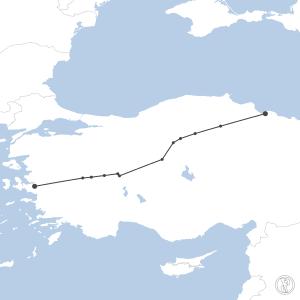 Map of flight plan from LTBJ to LTFH