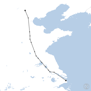 Map of flight plan from ZSPD to ZBAA