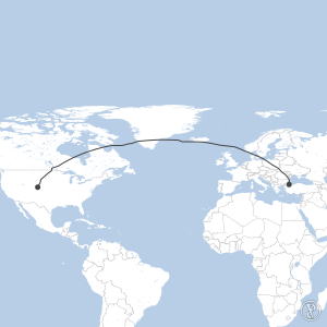 Map of flight plan from KDEN to LTFM