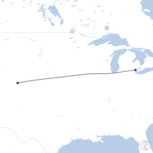 Map of flight plan from KDTW to KDEN