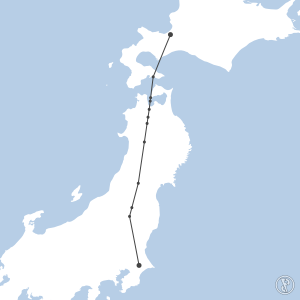 Map of flight plan from RJAA to RJCO