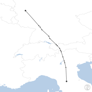 Map of flight plan from EDKB to LIRQ