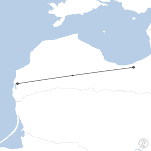 Map of flight plan from EVRA to EVLA