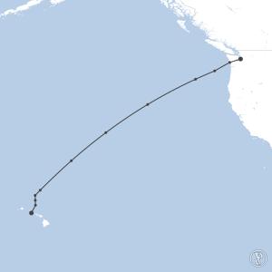 Map of flight plan from KBFI to PHNL