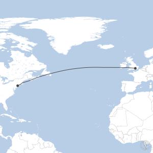 Map of flight plan from KJFK to EGLL