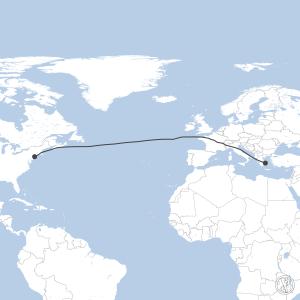 Map of flight plan from KJFK to LGAV