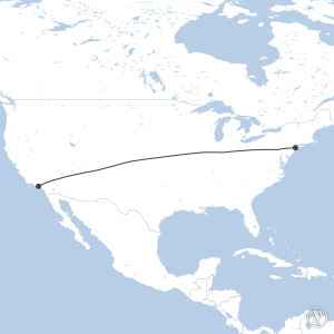 Map of flight plan from KJFK to KLAX
