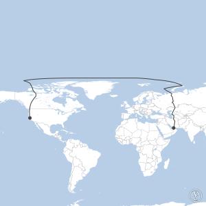 Map of flight plan from OMDB to KSFO