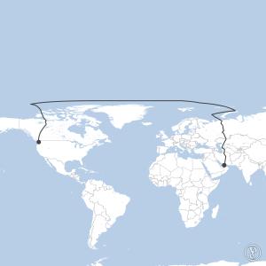 Map of flight plan from OMDB to KSEA