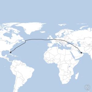 Map of flight plan from OMDB to KFLL