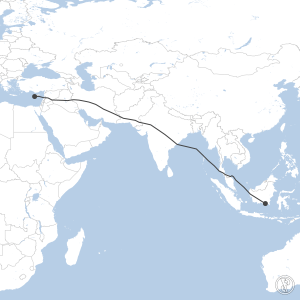 Map of flight plan from WAOO to LCPH