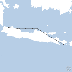 Map of flight plan from WADD to WIII