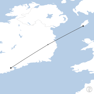 Map of flight plan from EGNS to EICK