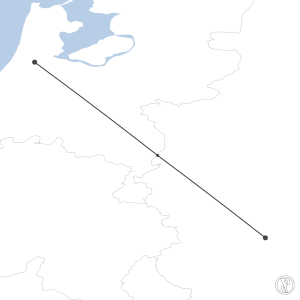 Map of flight plan from ETHM to EHAM