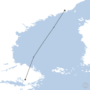 Map of flight plan from ESNU to ESSA