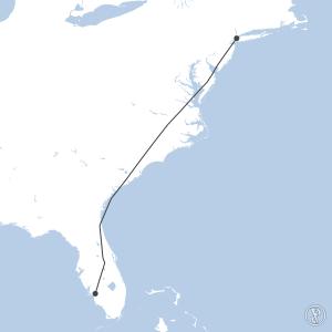 Map of flight plan from KLGA to KRSW