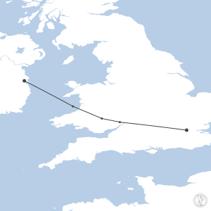 Map of flight plan from EGLC to EIDW
