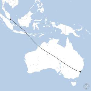 Map of flight plan from WSSS to YSSY