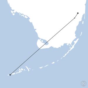 Map of flight plan from KEYW to KOPF