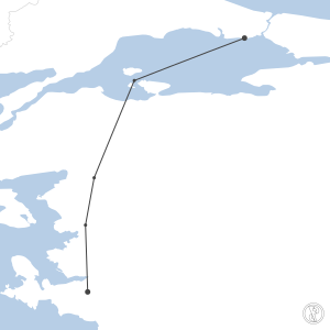 Map of flight plan from LTBA to LTBJ
