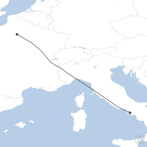 Map of flight plan from LFPG to LIRN