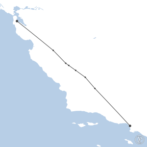 Map of flight plan from KSFO to KLAX