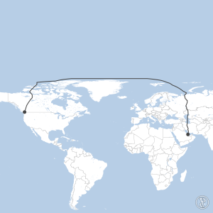 Map of flight plan from OTHH to CYVR