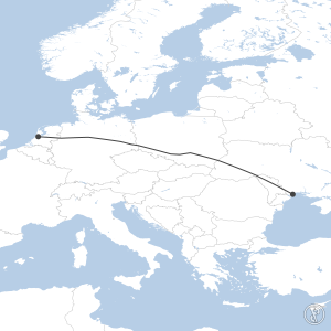 Map of flight plan from EHAM to UKOO