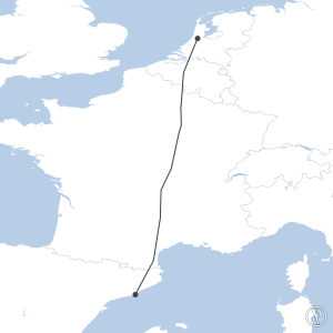 Map of flight plan from EHAM to LEBL