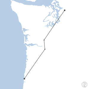 Map of flight plan from S43 to KONP