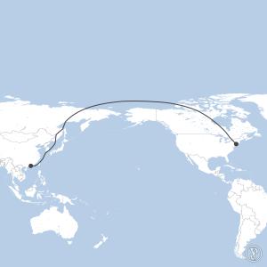 Map of flight plan from KJFK to VHHH