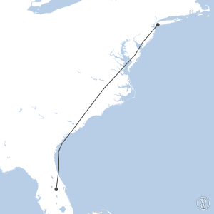 Map of flight plan from KJFK to KMCO